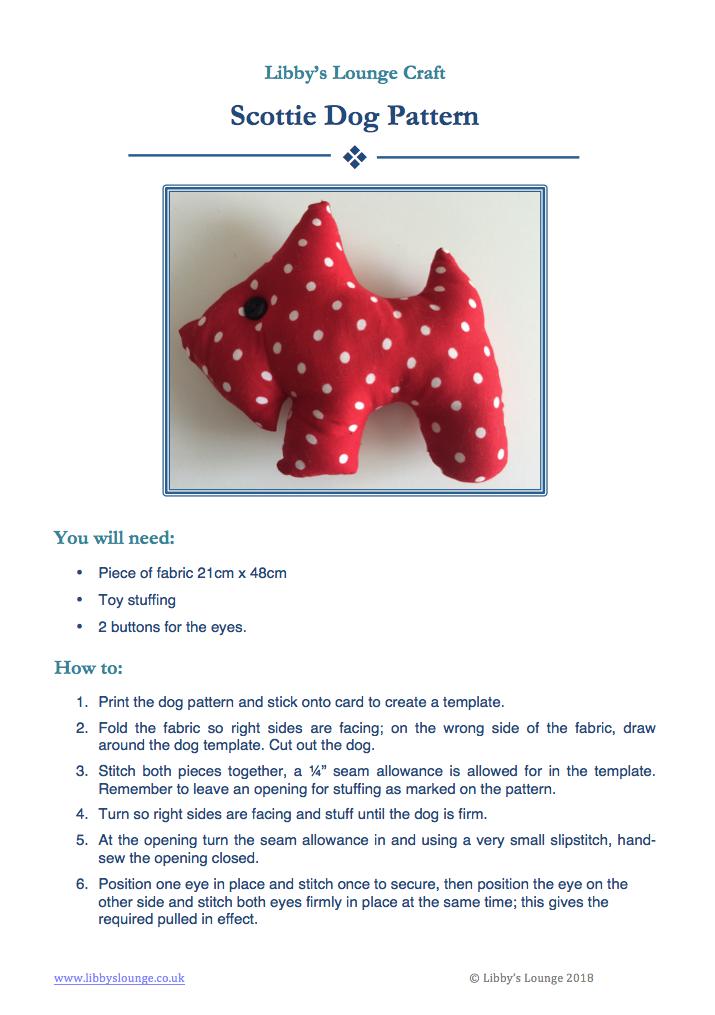 Free Scottie Dog Sewing Pattern – Libby\'s Lounge